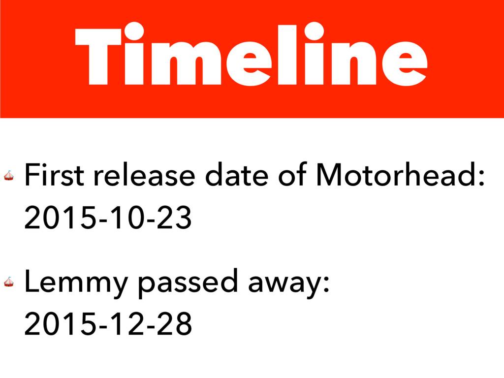 Timeline  First release date of Motorhead: 2015...