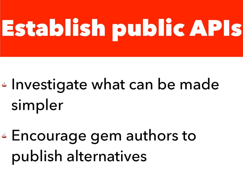 Establish public APIs  Investigate what can be ...