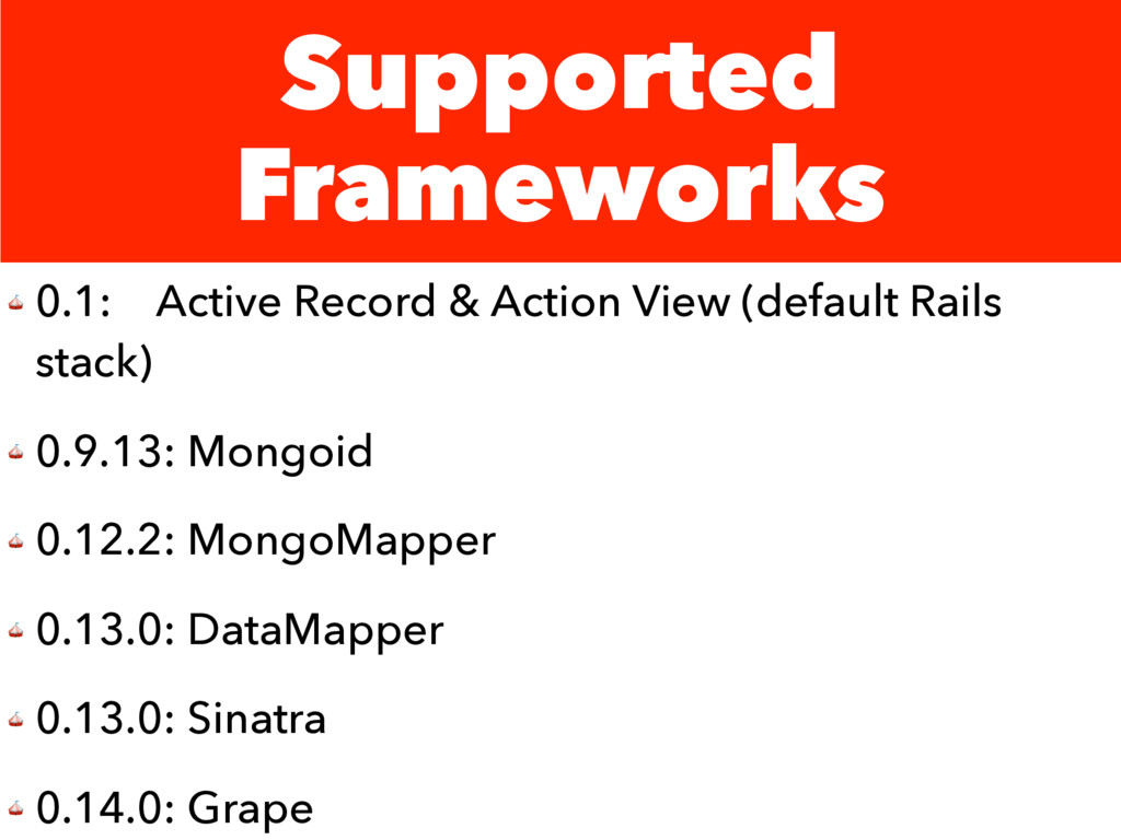 Supported Frameworks  0.1: Active Record & Acti...