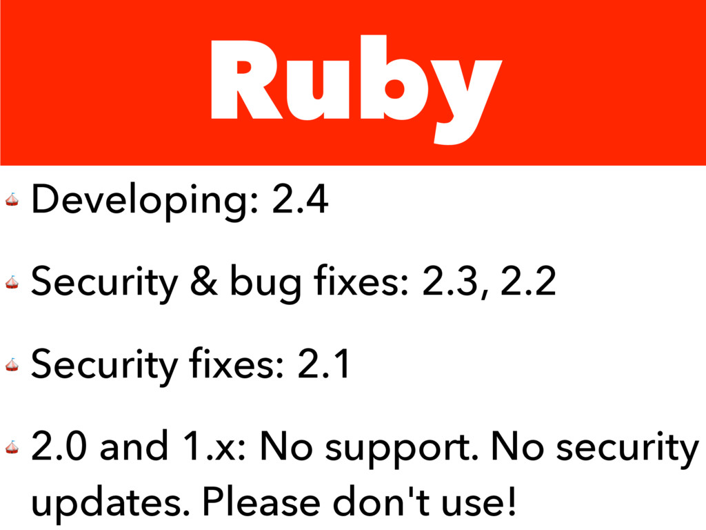 Ruby  Developing: 2.4  Security & bug fixes: 2.3...