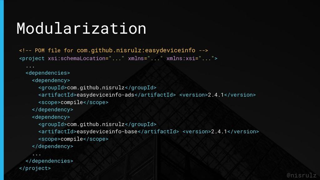 Modularization @nisrulz <!-- POM file for com.g...
