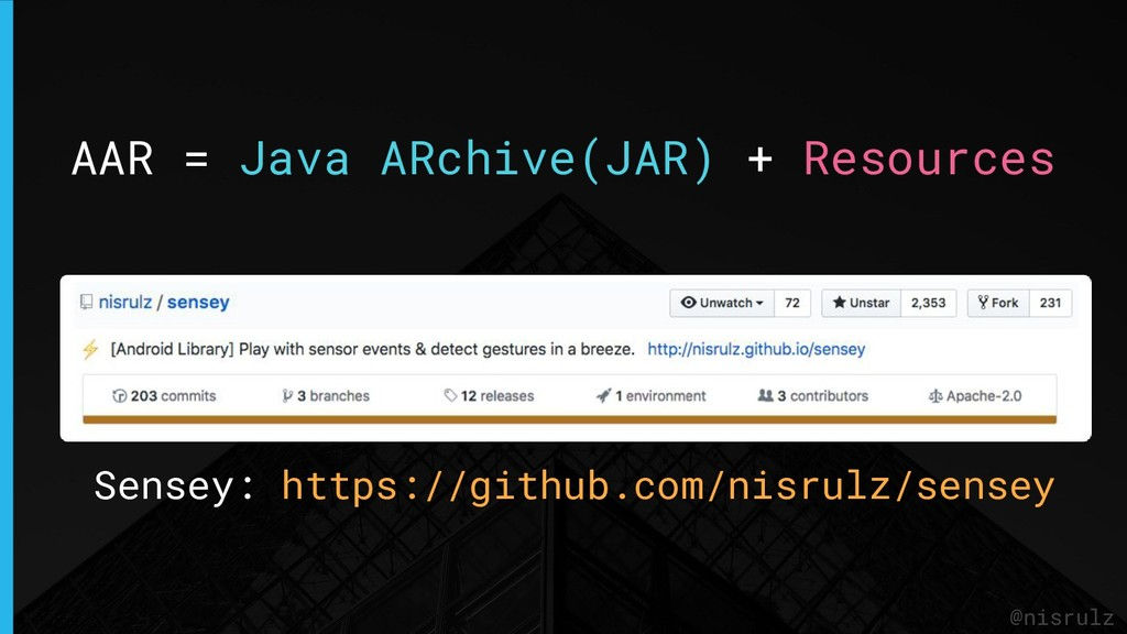AAR = Java ARchive(JAR) + Resources @nisrulz Se...