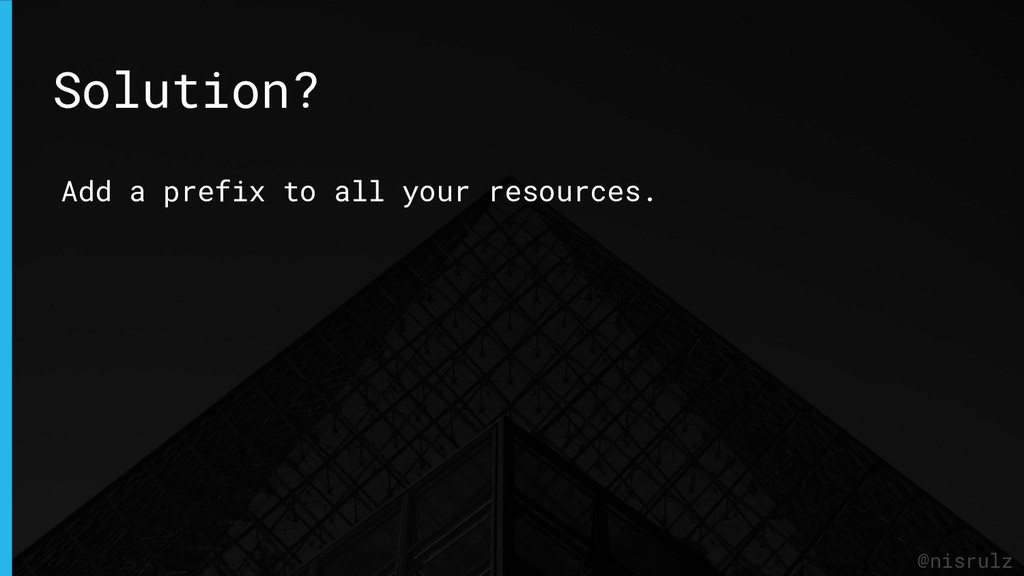 @nisrulz Add a prefix to all your resources. So...