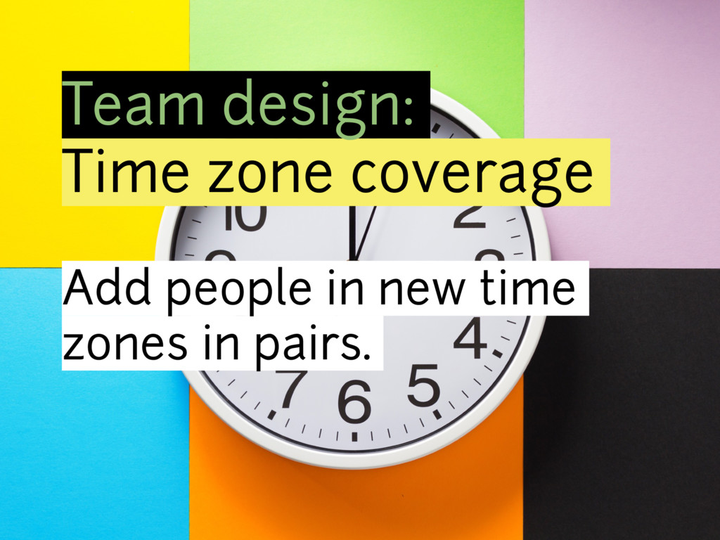 Team design: Time zone coverage Add people in n...