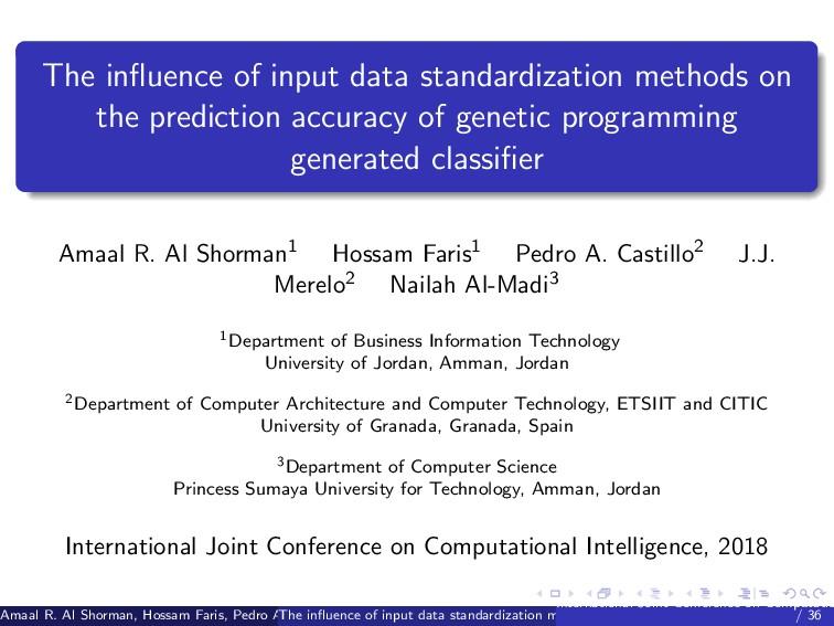 The influence of input data standardization meth...