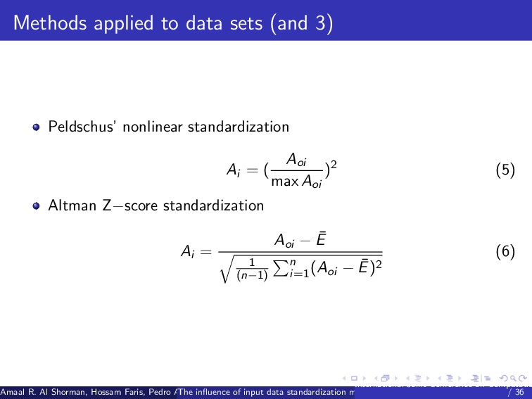 Methods applied to data sets (and 3) Peldschus'...