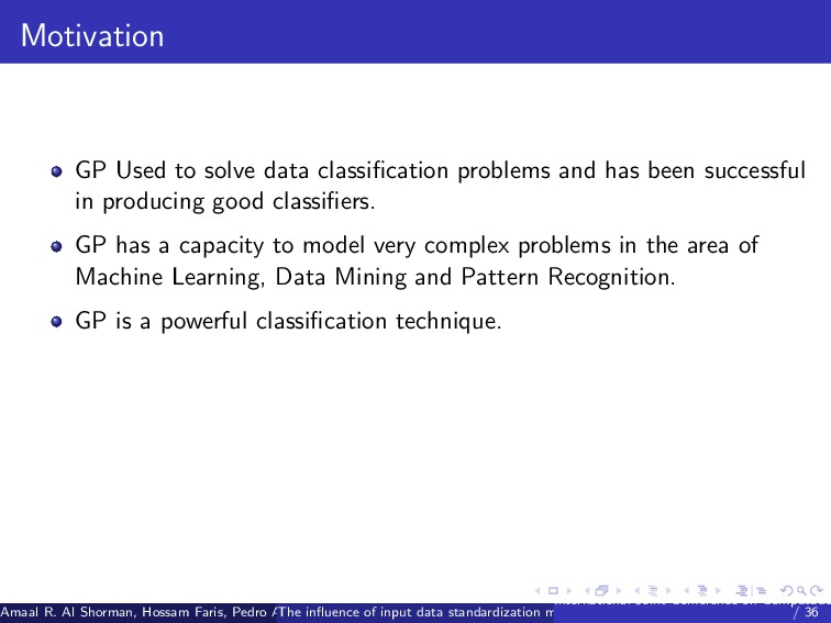 Motivation GP Used to solve data classification ...