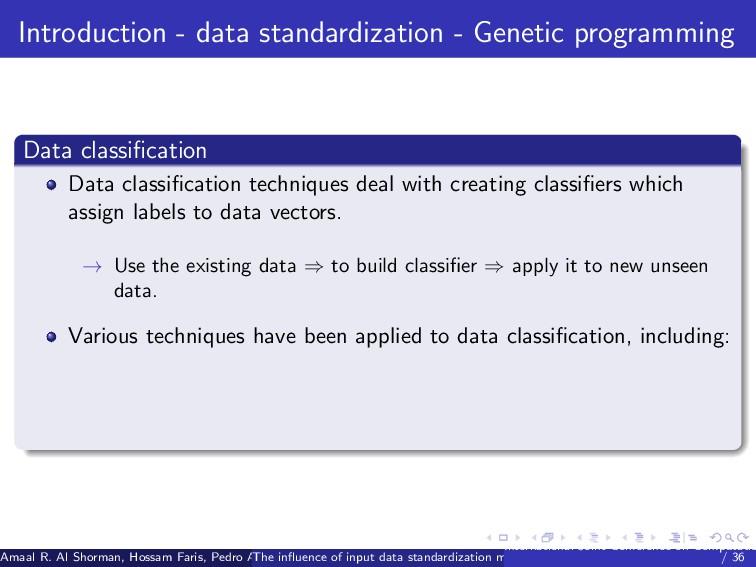 Introduction - data standardization - Genetic p...