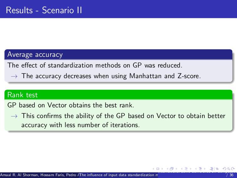 Results - Scenario II Average accuracy The effec...