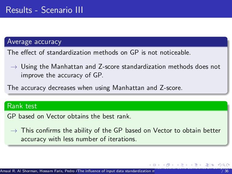 Results - Scenario III Average accuracy The effe...