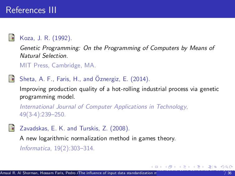 References III Koza, J. R. (1992). Genetic Prog...