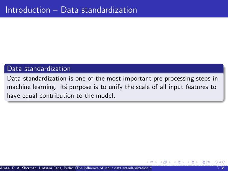 Introduction – Data standardization Data standa...