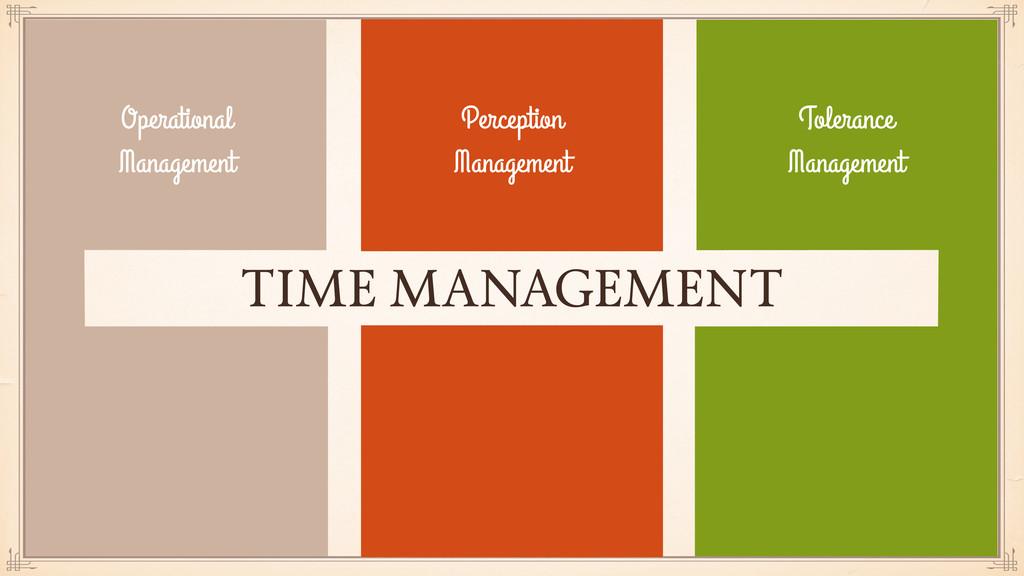 TIME MANAGEMENT Perception Management Tolerance...