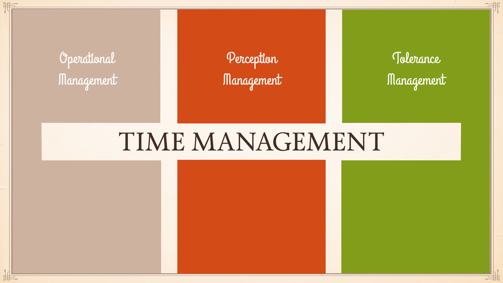 TIME MANAGEMENT Operational Management Toleranc...