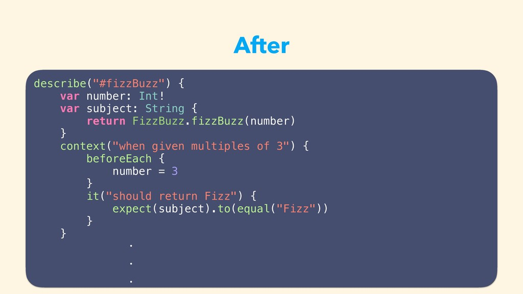 "After describe(""#fizzBuzz"") { var number: Int! ..."