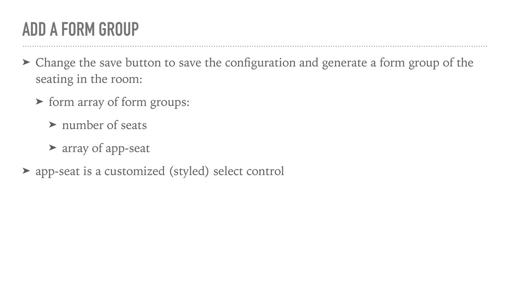 ADD A FORM GROUP ➤ Change the save button to sa...