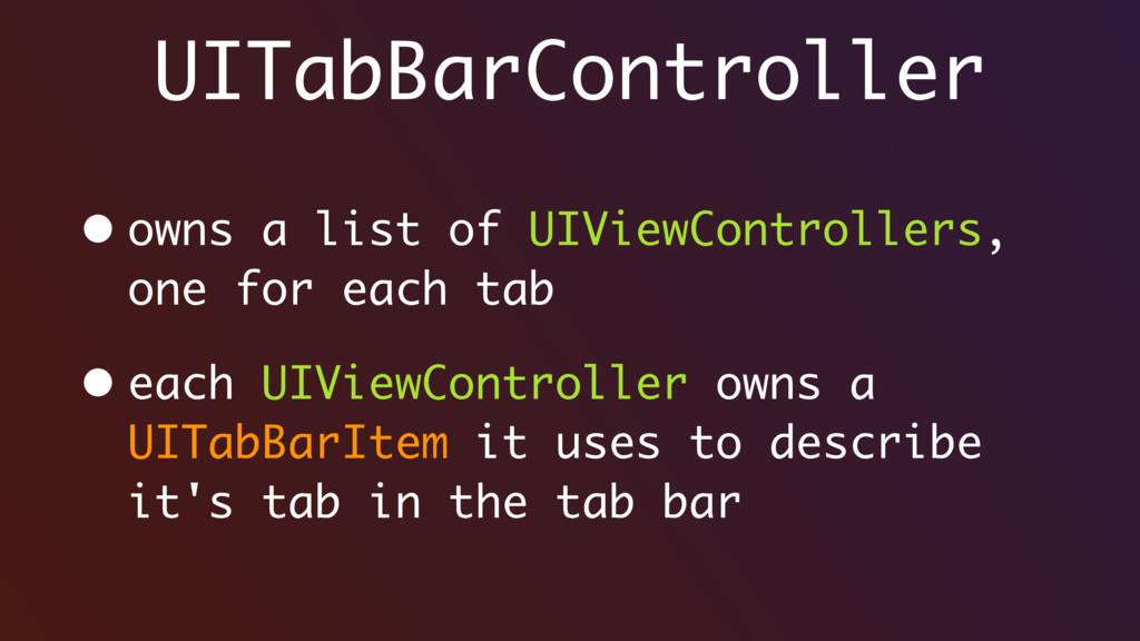 UITabBarController • owns a list of UIViewContr...