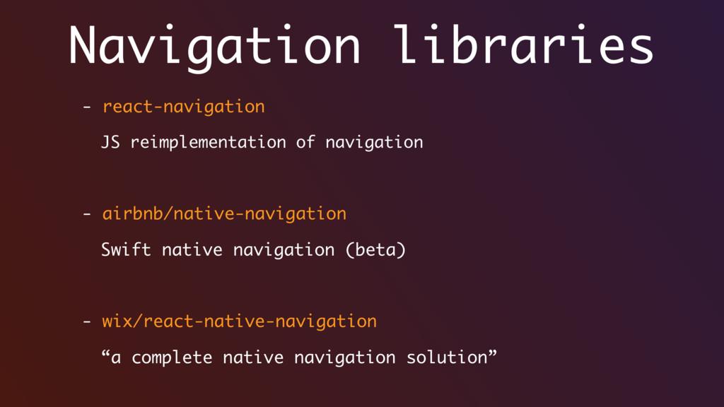 Navigation libraries - react-navigation JS reim...