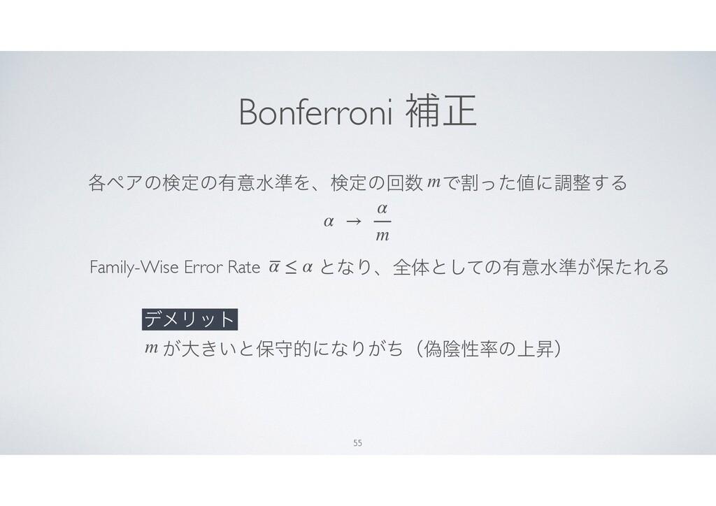Bonferroni ิਖ਼ 55 ֤ϖΞͷݕఆͷ༗ҙਫ४ΛɺݕఆͷճɹͰׂͬͨʹௐ͢Δ ...