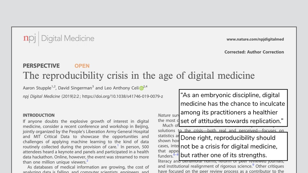 Done right, reproducibility should not be a cri...