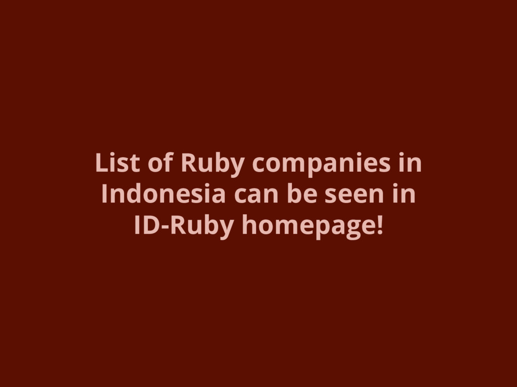 List of Ruby companies in Indonesia can be seen...