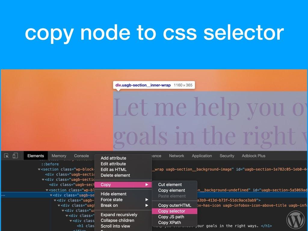copy node to css selector