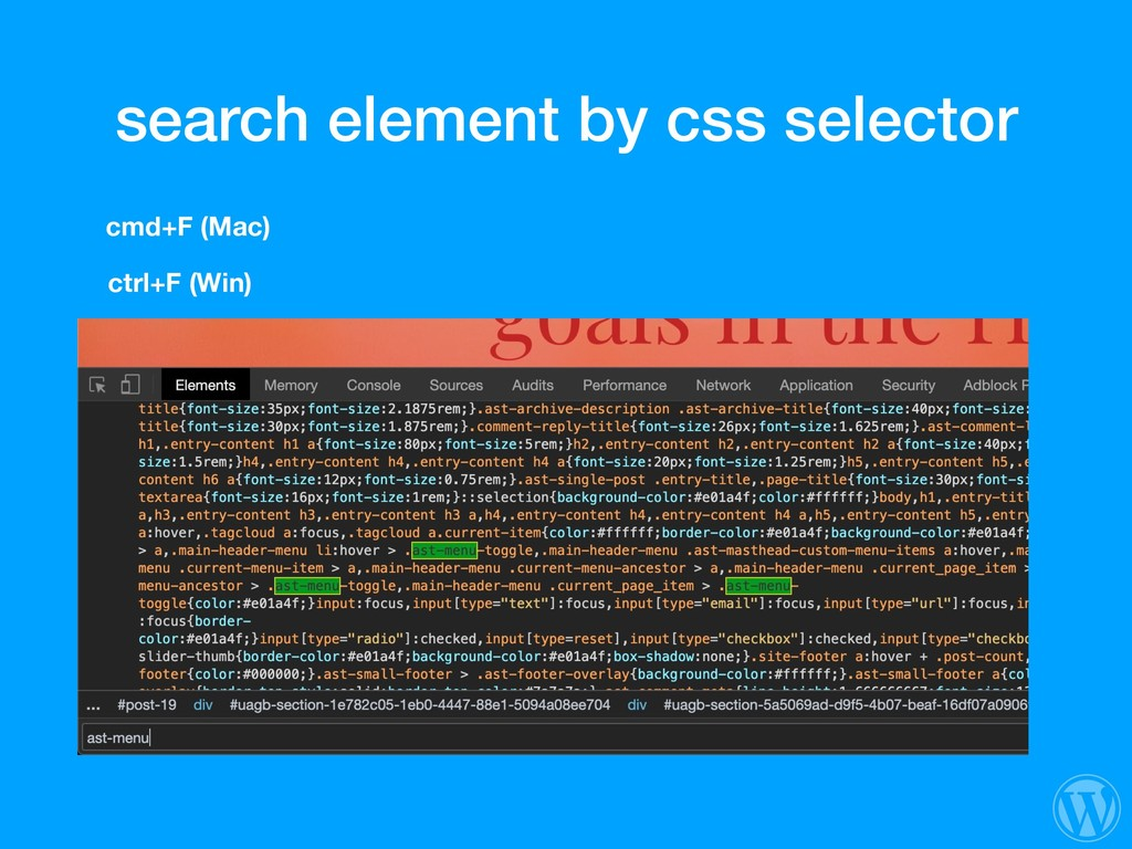 search element by css selector cmd+F (Mac) ctrl...