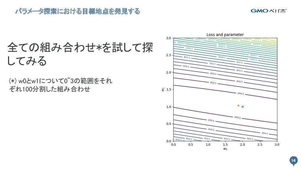 14 (*) w0とw1について0~3の範囲をそれ ぞれ100分割した組み合わせ 全ての組み...