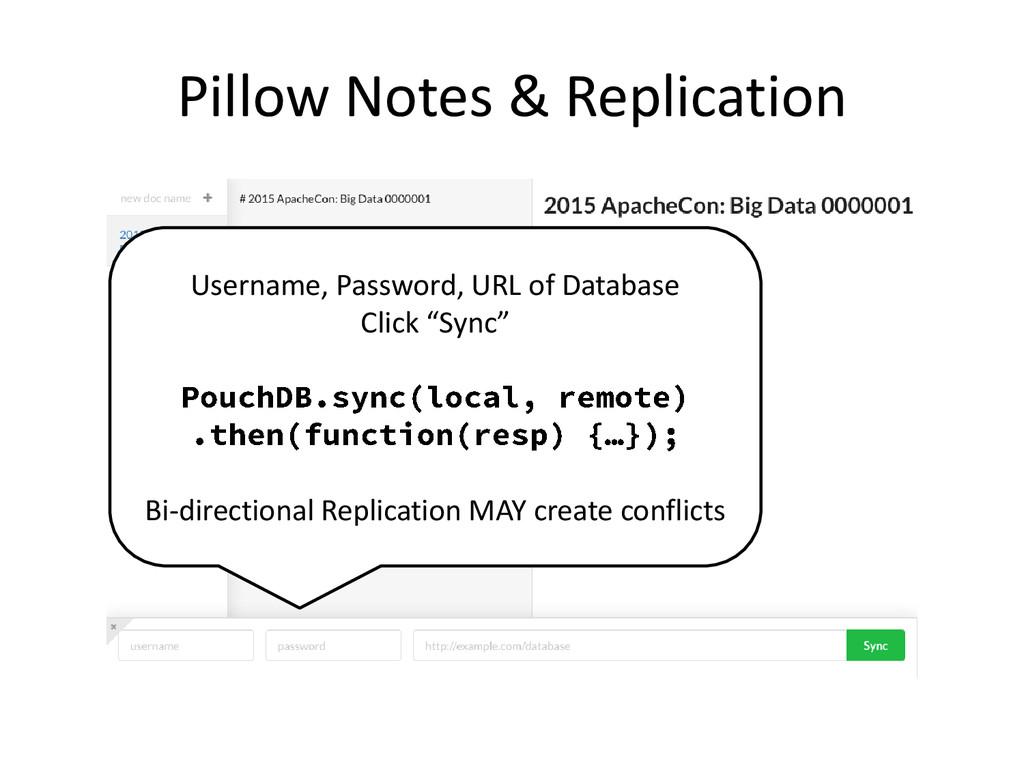 Pillow Notes & Replication Username, Password, ...