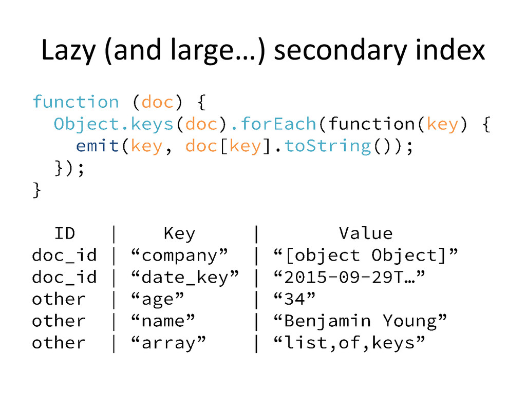 Lazy (and large…) secondary index
