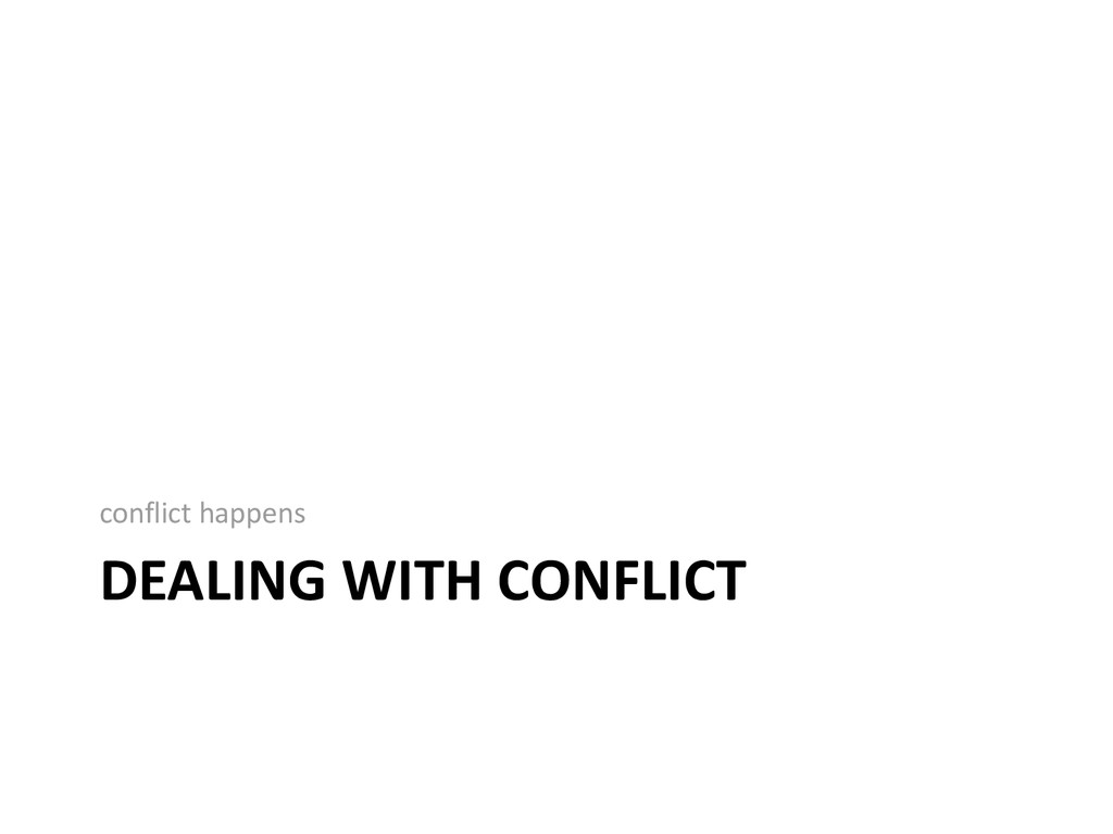 DEALING WITH CONFLICT conflict happens