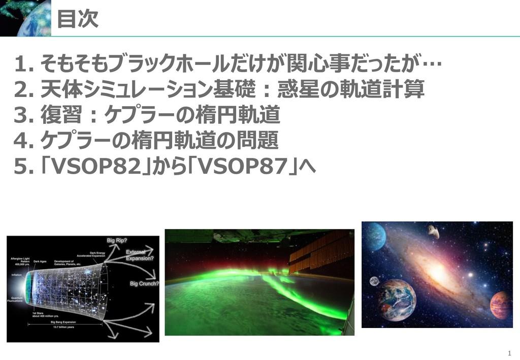 1 1. そもそもブラックホールだけが関心事だったが… 2. 天体シミュレーション基礎:惑星の...