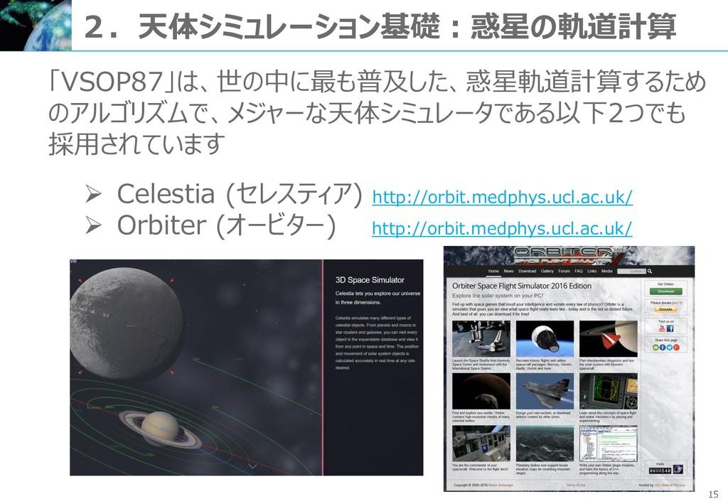 15 2.天体シミュレーション基礎:惑星の軌道計算 「VSOP87」は、世の中に最も普及した、...