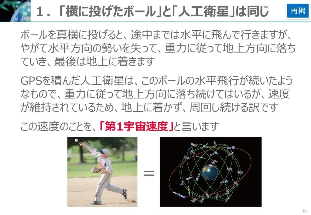 21 1.「横に投げたボール」と「人工衛星」は同じ ボールを真横に投げると、途中までは水平に飛...