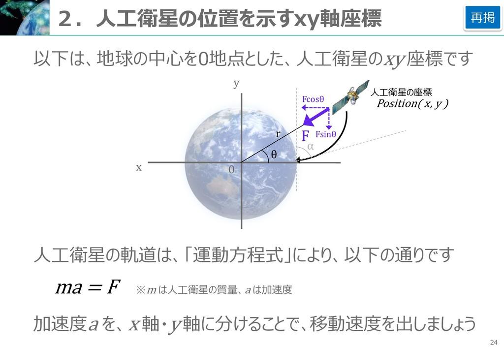 24 2.人工衛星の位置を示すxy軸座標 以下は、地球の中心を0地点とした、人工衛星のxy 座...