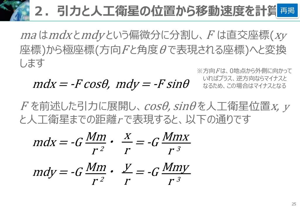 25 2.引力と人工衛星の位置から移動速度を計算 ma はmdx とmdy という偏微分に分割...