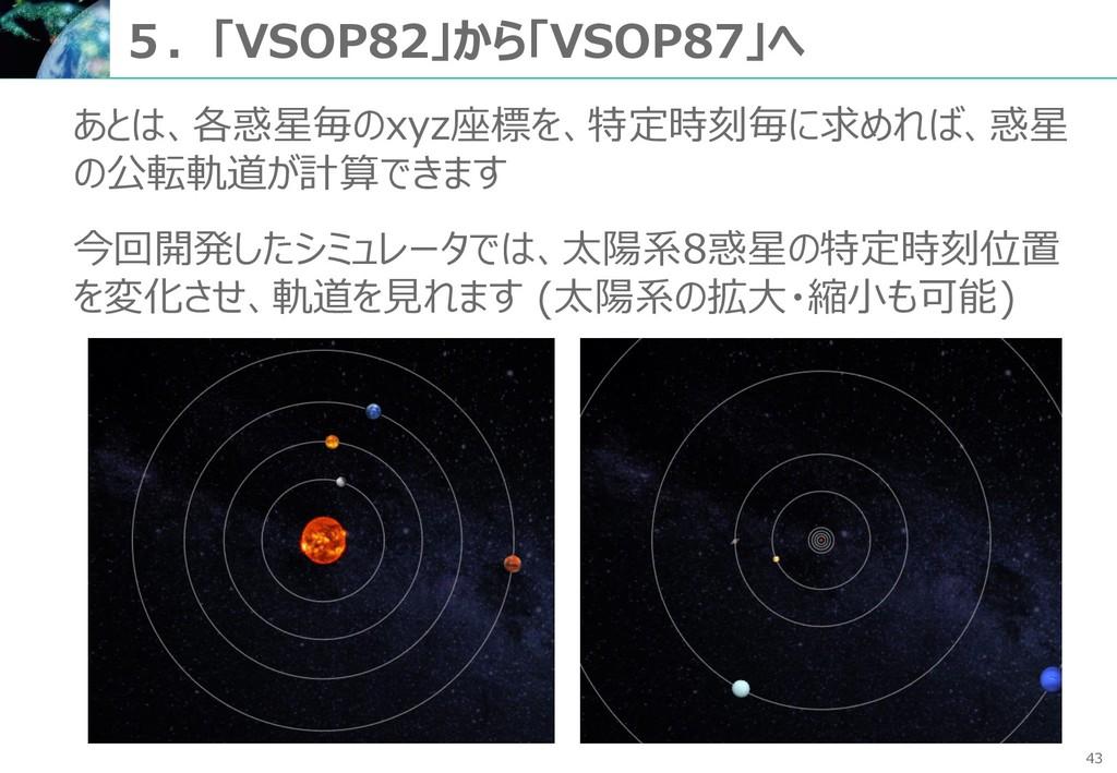 43 5.「VSOP82」から「VSOP87」へ あとは、各惑星毎のxyz座標を、特定時刻毎に...