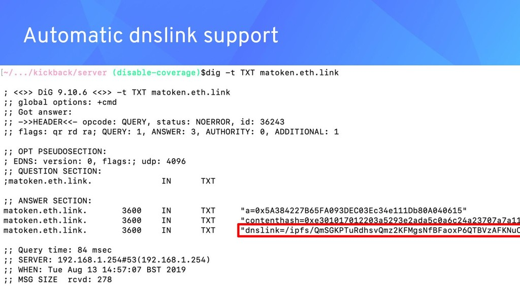 Automatic dnslink support ● ● ●