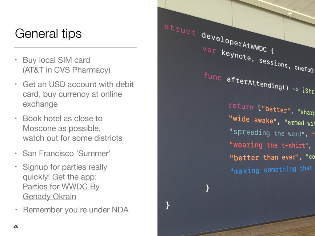 General tips 26 • Get an USD account with debit...
