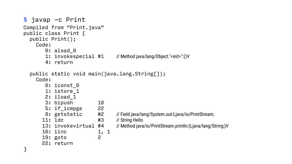 "$ javap -c Print Compiled from ""Print.java"" pub..."
