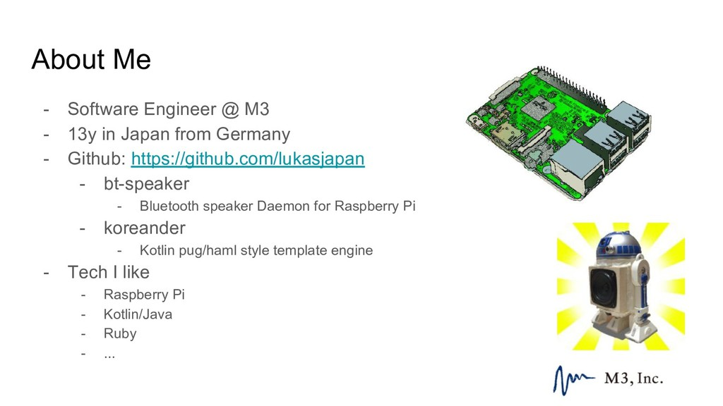 About Me - Software Engineer @ M3 - 13y in Japa...