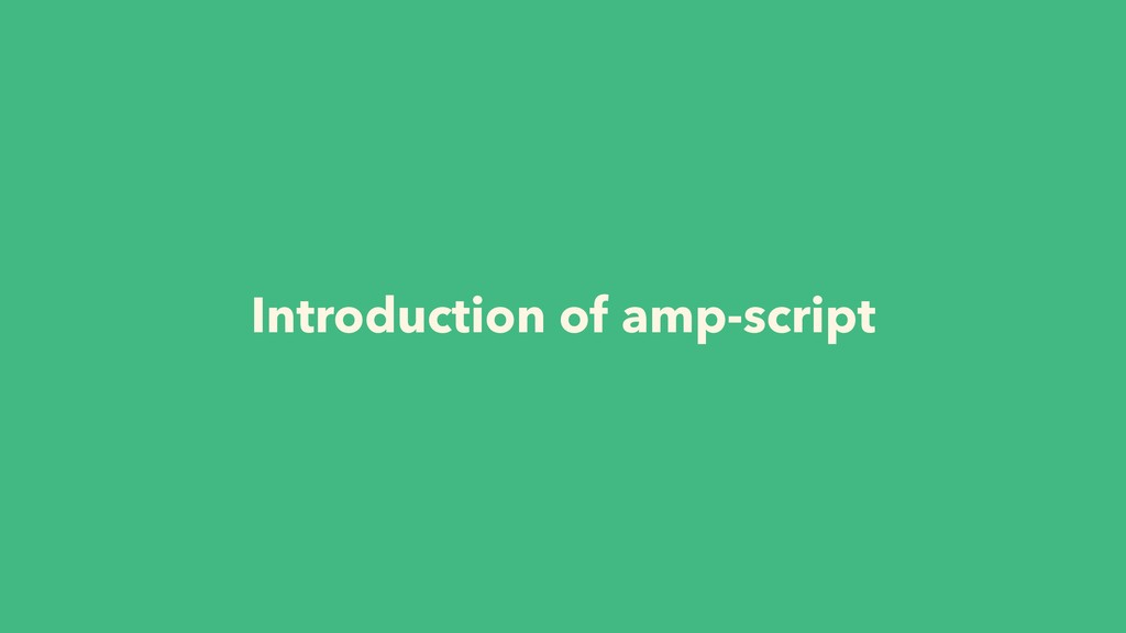 Introduction of amp-script