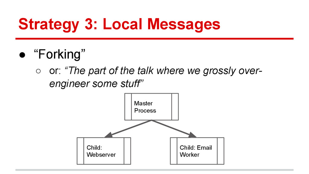 "Strategy 3: Local Messages ● ""Forking"" ○ or: ""T..."