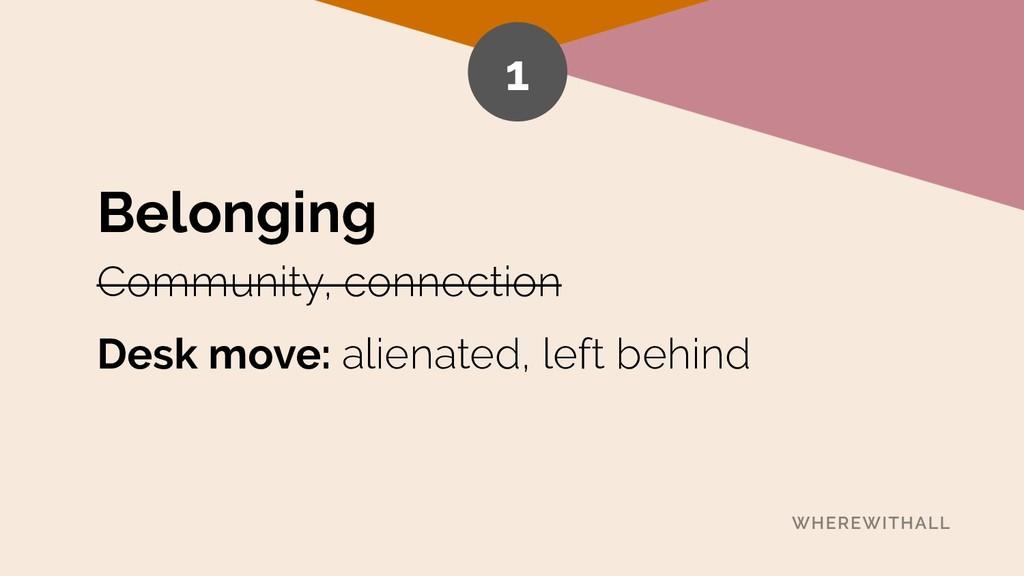 Belonging Community, connection Desk move: alie...