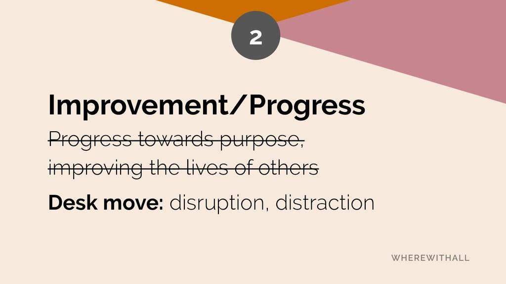Improvement/Progress Progress towards purpose,...