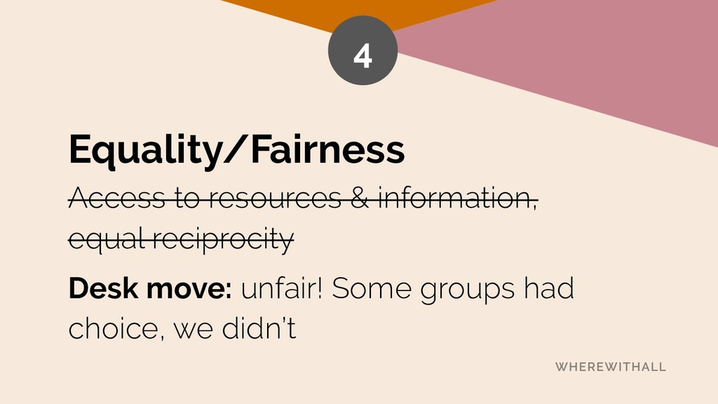 Equality/Fairness Access to resources & informa...
