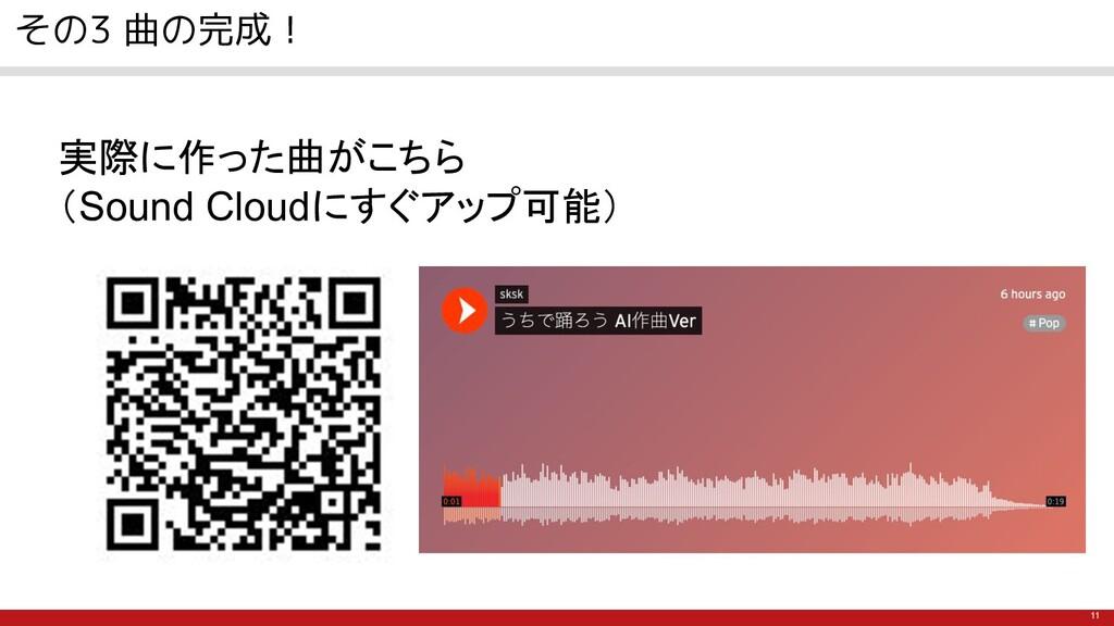 11 その3 曲の完成! 実際に作った曲がこちら (Sound Cloudにすぐアップ可能)