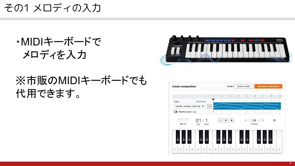 8 その1 メロディの入力 ・MIDIキーボードで  メロディを入力 ※市販のMIDIキーボー...