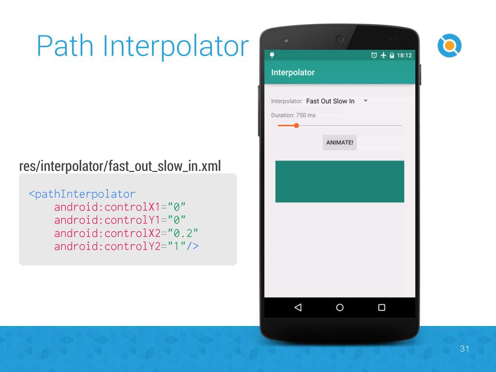Path Interpolator 31 <pathInterpolator android:...