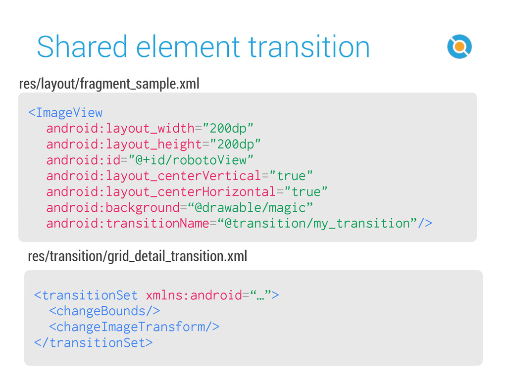Shared element transition 48 <transitionSet xml...